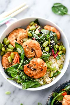 Sesame Shrimp With Asian Greens Rice Bowl | Dairy free and gluten free. | Click for healthy recipe. | Via Foodie Crush