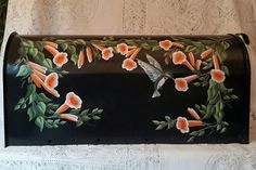 Hand Painted Mailbox with Trumpet Vines and Hummingbird on Black b/g