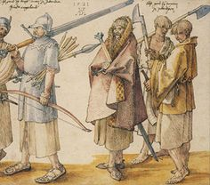 century artistic depiction of a group of Irish and Scottish warriors (Gallowglasses and Kerns) by Albrecht Dürer. The Gallowglass, an elite mercenary warrior in medieval Ireland, was a member of the Norse-Gaelic clans of Scotland during High Middle Ages. Albrecht Durer, Irish Clothing, Celtic Clothing, Irish Warrior, Celtic Warriors, Irish People, Landsknecht, Medieval Life, Irish Traditions