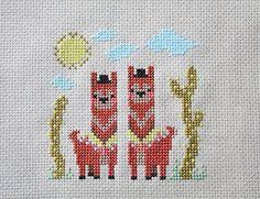 Awesome Alpacas modern cross stitch pattern by FoxYouAreSoCrafty
