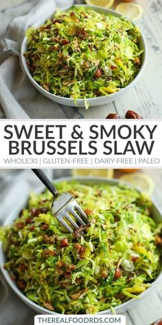 Sweet And Smoky Brussels Slaw Side Dish Gluten-Free Side Dish Dairy-Free Side Dish Paleo Side Dish Healthy Side Dish Recipe Easy Side Dish Recipe The Real Food Dietitians Paleo Side Dishes, Gluten Free Sides Dishes, Side Dishes For Bbq, Side Dish Recipes, Food Dishes, Healthy Vegetable Side Dishes, Cheap Side Dishes, Healthy Sides, Paleo Recipes
