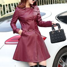 Womens Outerwear 2017 Quality New Plus Size Slim Long Leather Trench Women Leather Coats And jackets Double Breasted ladies Coat