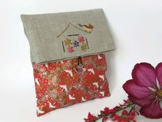 Clutch Bag, fold over clutch bag, bridal  clutch bag, large clutch bag , cosmetic bag , Linen and Japanese Fabric Cluth bag , Red Clutch by cosyribbon on Etsy