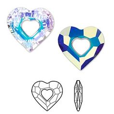 Focal, Swarovski® crystals, Crystal Passions®, crystal AB, faceted Miss U Heart pendant Sold per pkg of Swarovski Pendant, Crystal Pendant, Swarovski Crystals, Ice Chips, Free Items, Bold Colors, Heart Shapes, Craft Projects, Jewelry Making