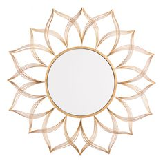 Flower Gold Mirror- Ligthen the mood of any room. A flower-esque shape surrounds a center mirror to create a spin on the classic starburst. Its open design creates a lovely display when placed on your walls. Perfect in an entry, living room, or bedroom. Entryway Mirror, Rustic Wall Mirrors, Round Wall Mirror, Wall Mounted Mirror, Round Mirrors, Sun Mirror, Mirror Room, Decorative Mirrors, Mirror Set
