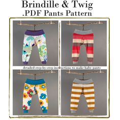Baby sewing pattern for pants .pdf file seven sizes... 0-3M to 2-3T  easy photo tutorial via Etsy