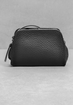 & OTHER STORIES A mini cross-body bag made from supple calf leather with grain texture. Black Leather Crossbody Bag, Mini Crossbody Bag, Leather Bags, Calf Leather, Grain Texture, Bag Making, Cross Body, Calves, Belt