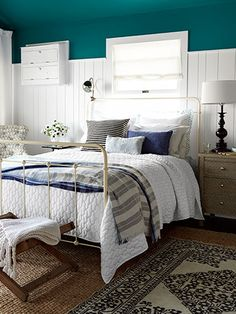 Something different for room colour. Country Living Magazine House of Year - beach bungalow bedroom by Emily Henderson Cozy Bedroom, Beach House Bedroom, Bedroom Makeover, Bedroom Decor, Teal Bedroom, Home, Bungalow Bedroom, Home Bedroom, Home Decor
