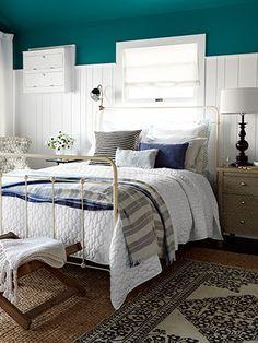 Vintage Bedroom Decorating Ideas - Vintage Decor for Master Bedrooms - Country Living -- bedding mix: patterns, stripes