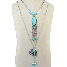 SHARE & Get it FREE | Vintage Faux Turquoise Elephant Fringe Layered Necklace For WomenFor Fashion Lovers only:80,000+ Items·FREE SHIPPING Join Dresslily: Get YOUR $50 NOW!