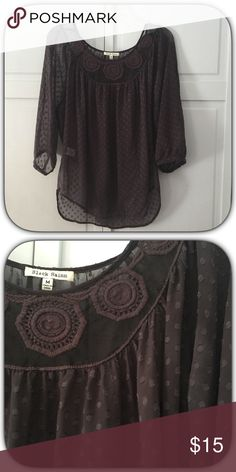 Lovely Brown Semi Sheer Embroidered Peasant Blouse What a cute top this is! I wore a brown Cami underneath this top! It is in excellent condition! It is flowy and light! It looks adorable with skinny jeans and boots! Boutique Tops Blouses