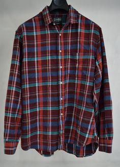 Gitman Bros Vintage Burgundy Red Plaid Button Front LS Shirt XL USA