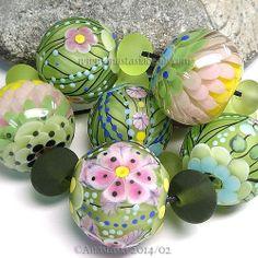 "ANASTASIA--lampwork beads--(7)--""GREEN LEAVES""--SRA #Lampwork eBay<3<3<3PRETTY PASTELS<3<3<3"