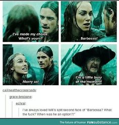 Barbarossa marry us Elisabeth and will Turner pirates of the Caribbean – filmscenes My Tumblr, Tumblr Funny, Funny Memes, Hilarious, Jokes, Memes Humor, Funny Tweets, Funny Quotes, Will Turner