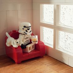 Bank Holiday Weather... by Balakov | LEGO Star Wars Stormtrooper Minifig and crouching cat