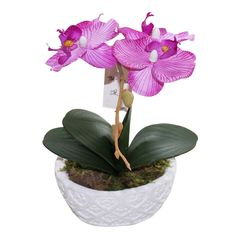 Huazhiwu 9' Silk Flowers Artificial Orchid Single Stem Arrangement 3320, Purple *** Want additional info? Click on the image.
