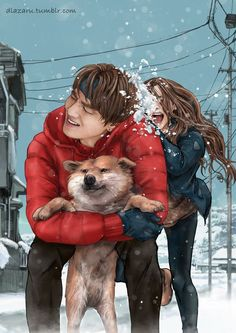 bts fanart v taehyung bangtan winter dog Bts Taehyung, Taehyung Fanart, Bts Bangtan Boy, Namjoon, Bts Jungkook, Chibi, Kpop Fanart, Bts Girlfriends, Bts Art