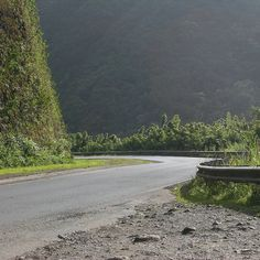 one of the many turns on the winding road to Hana.  The road was so narrow you had to stop and blow your horn to make sure no one was coming around the curve.