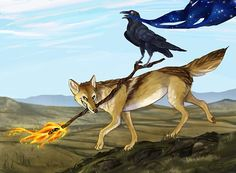 Coyote steals fire, Raven steals the stars. Based on Native American mythology.