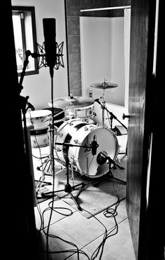 drums in the bathroom.