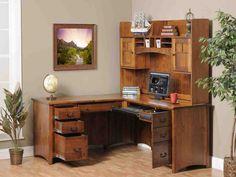 corner desk office furniture used home office furniture # Office Desk With Hutch, Corner Desk With Hutch, Desk Hutch, Desk With Drawers, Office Desks, Storage Drawers, Desk Cabinet, Computer Desks, Diy Drawers