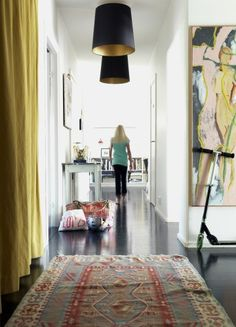 yellow drapes, great lighting, large art