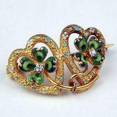 Krementz-Art-Nouveau-Diamond-Enamel-4-Leaf-Clover-Pin-Brooch-14kt-Gold-sku7290