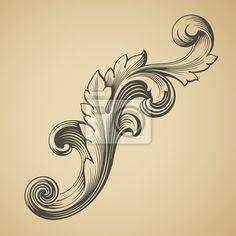 Sticker vector vintage Baroque pattern design element