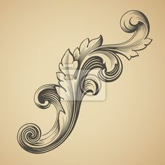 Sticker vector vintage Baroque pattern design element