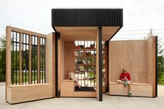<p>Built from plywood, the pavilion features two massive pivoting doors fitted with custom plate-steel hinges fabricated by CFORM Design.</p>