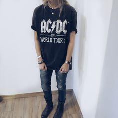 AC/DC oversize black shirt Ac Dc, Hipster, Photo And Video, T Shirt, Black, Instagram, Tops, Women, Style