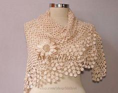 Ivory Shawl Wrap Crochet Shawl Wedding Bridal Shawl by lilithist