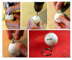 Golf Balls - Upcycled DIY Tutorial Golf Ball Keychain!