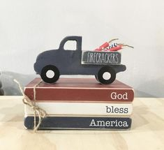 Wooden Books, Painted Books, Stack Of Books, Mini Books, Pink Truck, Wooden Truck, Wooden Stars, Dollar Tree Crafts, Patriotic Decorations