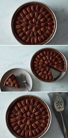 An easy, forgiving, and absolutely delicious vegan spin on pecan pie. Creamy medjool dates and coconut oil perfectly approximate the flavor and richness of a traditional filling. Raw Vegan Desserts, Raw Vegan Recipes, Vegan Treats, Vegan Foods, Vegan Pecan Pie, Vegan Pie, Manger Healthy, Vegan Thanksgiving, Eating Raw
