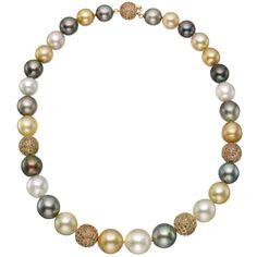 Estate, Betteridge Collection Multicolored South Sea Pearl & Pavé Diamond Ball Necklace