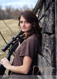 Country Girl - Senior - Cute idea for a senior girl with her hunting gun.  Pure Country