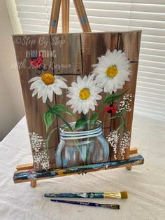 How To Paint Daisies In A Jar - Step By Step Painting Daisy Painting, Acrylic Painting Flowers, Tole Painting, Acrylic Painting Canvas, Painting & Drawing, Easy Flower Painting, Canvas Painting Tutorials, Painting Lessons, Diy Canvas