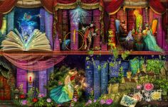 Fairytale Digital Art - Fairytake Treasure Hunt Book Shelf Variant 4 by Aimee Stewart