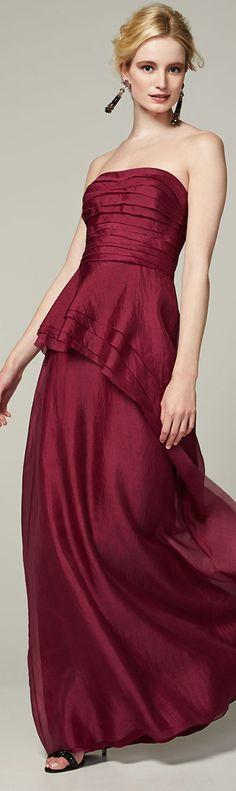 Kay Unger ● New York Strapless Asymmetric Peplum Gown