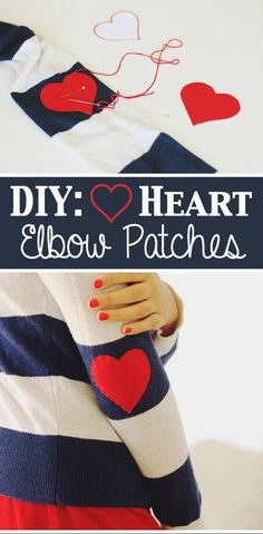 33 Clever Ways To Refashion Your Clothes: DIY heart elbow patches Sewing Hacks, Sewing Crafts, Sewing Projects, Costura Diy, Diy Kleidung, Elbow Patches, Clothing Hacks, Baby Kind, Diy Shirt