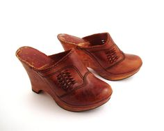 Leather Wooden Clogs Vintage 1970s Platform 70s Abhadabbos by purevintageclothing on Etsy, $58.00