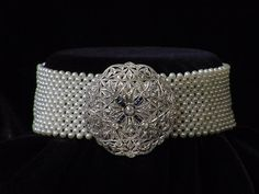 Woven pearl choker with estate brooch ,by Marina J