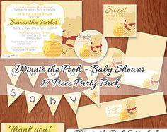 NEUTRAL Winnie the Pooh Baby Shower Party Pack - Instant Download - INCLUDES Invitation - PRINTABLE Digital Files