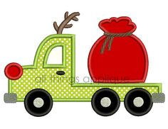 Reindeer Flatbed Truck with Santa Bag Applique - Christmas Applique Design - 3 Sizes - INSTANT DOWNLOAD by allthingsapplique on Etsy https://www.etsy.com/listing/168849470/reindeer-flatbed-truck-with-santa-bag