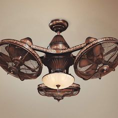 Esquire Industrial Ceiling Fan with Light LED Remote Control Solid Bronze Frosted Glass Bowl for Living Room Kitchen Bedroom Family Dining - Casa Vieja Fan Light, Cool Lighting, Ceiling, Ceiling Fan With Light, Bronze, Room Lamp, Ceiling Fans For Sale, Living Room Lighting, Ceiling Fan Design