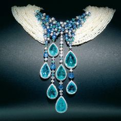 Diamonds, Paraiba, pearls and sapphires necklace BRUNILDE