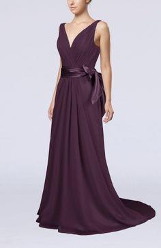Traditional A-line V-neck Chiffon Court Train Bow Evening Dresses