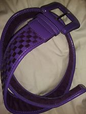 Nine West plum color patent leather woven belt size medium