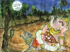Why did Lord Ganesha curse the moon? Uncover the mystery behind the curse to the moon and what made the elephant deity angry.To read more about Ganesha visit theganeshaexperience Lord Ganesha, Lord Krishna, Lord Shiva, Ganesha Story, Moon For Kids, Great Warriors, Look At The Moon, Mother Goddess, Inspiration For Kids